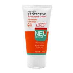 کرم ضد آفتاب نئودرم برای پوست خشک و معمولی فاقد رنگ SPF50 حجم 50ml