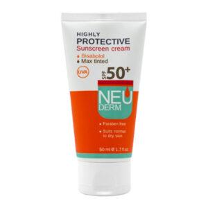 کرم ضد آفتاب نئودرم برای پوست خشک و معمولی با رنگ بژ SPF50حجم 50ml