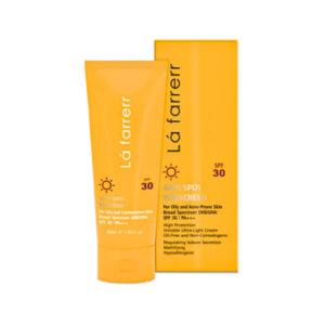 کرم ضد آفتاب و ضد لک بی رنگ لافارر برای پوست چرب  SPF30