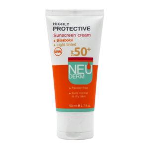 کرم ضد آفتاب نئودرم برای پوست خشک و معمولی با رنگ بژ روشن 50ml