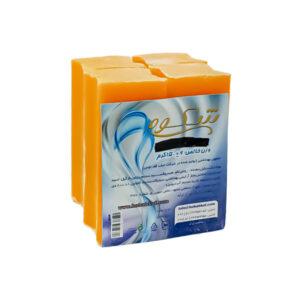 صابون شستشو شکوه مدل مراغه زرد رنگ وزن 150 گرم بسته 4 عددی