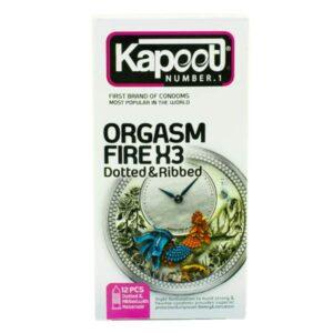 کاندوم تاخیری،خاردار کاپوت مدل Orgasm Fire X3 بسته 12 عددی