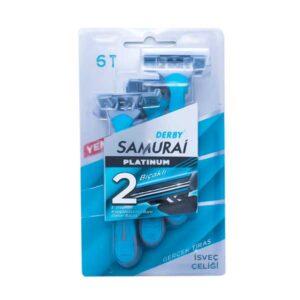 خود تراش مردانه دربی مدل Samurai 2 Platinum بسته 6 عددی