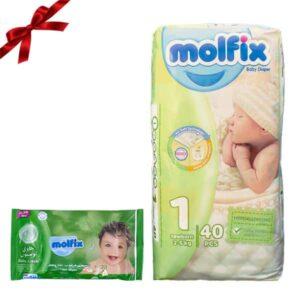 پوشک کودک مولفیکس سایز 1 بسته 40 عددی + هدیه دستمال مرطوب