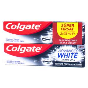 خمیر دندان زغالی کولگیت مدل Advanced White حجم 2*75ml