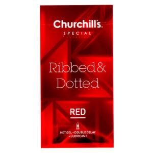 کاندوم تاخیری و خاردار قرمز چرچیلز  Ribbed & Dotted بسته 12 عددی