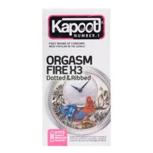 کاندوم حلقوی و خاردار کاپوت مدل Orgasm Fire X3 بسته 12 عددی