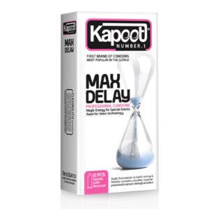 کاندوم تاخیری فوق العاده و نازک کاپوت مدل Max Delay بسته 12 عددی